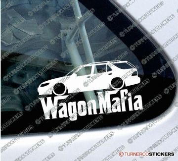 LOW Saab 9-5 estate ' WAGON MAFIA ' Lowered car sticker , Decal